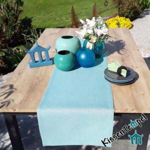 Outdoor Tischläufer >Nizza< mint grün blau, UV-beständig, wasserabweisend