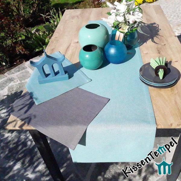 Outdoor Tischläufer >Nizza< mint grün blau oder grau, UV-beständig