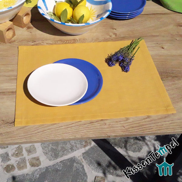 Leinen-Tischset >Lotte< gelb curry ocker, 100% Leinen, zeitlos, schlichte Eleganz