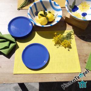 Leinen-Tischset >Lotte< gelb lemon, 100% Leinen, zeitlos, schlichte Eleganz