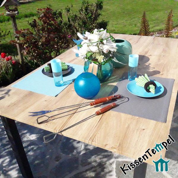 Outdoor Tischset >Nizza< UV-beständig, wasser- und schmutzabweisend, mint oder grau, für Terrasse / Balkon / Camping