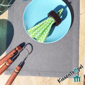 Outdoor Tischset >Nizza< UV-beständig, wasser- und schmutzabweisend, grau, für Terrasse / Balkon / Camping