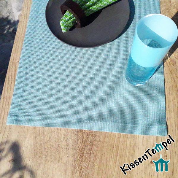 Outdoor Tischset >Nizza< UV-beständig, wasser- und schmutzabweisend, mint, für Terrasse / Balkon / Camping