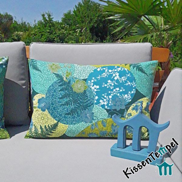 Outdoor KissenBezug >Jungle Feeling< UV-beständig, wasser- und schmutzabweisend, Monstera- und Palmblätter in grün türkis petrol 40x60