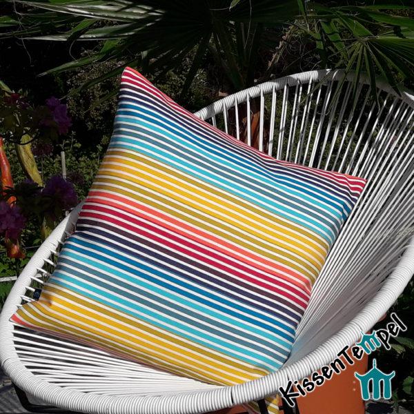 Outdoor Kissen >Rainbow< UV-beständig, Regenbogenfarben, Wendekissen, für Terrasse Balkon Camping