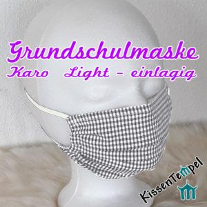 """Atmungsaktive GrundschulMaske """"Karo-LIGHT"""" einlagig, opt. mit Nasenbügel, Gesichtsmaske für Kinder 5 - 10 Jahre"""