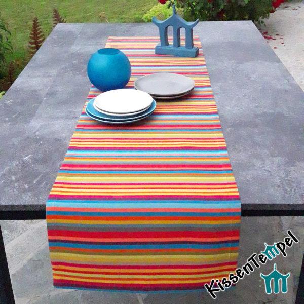 Outdoor Tischläufer >Caribe< UV-resistent, bunte Streifen in rot orange gelb grün blau türkis petrol pink violett