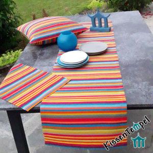 Outdoor Tischläufer Tischset Kissen >Caribe< UV-resistent, bunte Streifen in rot orange gelb grün blau türkis petrol pink violett
