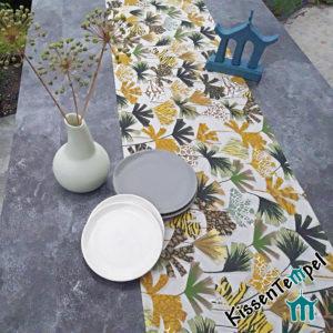 Tischläufer >Nairobi< Mitteldecke mit Leopardenmuster und Tigermuster, gelb ocker creme braun grau, schwarz, grün