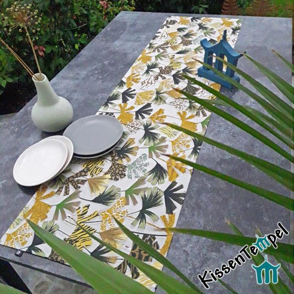 AnimalPrint Tischläufer >Nairobi< Mitteldecke mit Leopardenmuster und Tigermuster, gelb ocker creme braun grau, schwarz, grün