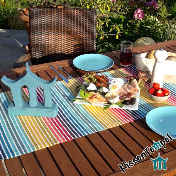Outdoor Tischläufer >Rainbow< UV-beständig, Streifen in Regenbogenfarben