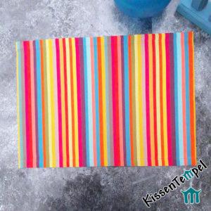 Outdoor Tischset >Caribe< UV-beständig, wasserabweisend, bunte Streifen rot orange gelb grün blau türkis petrol pink violett
