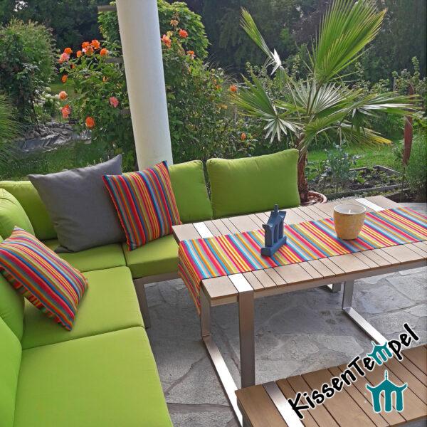 Outdoor Kissen & Tischläufer >Caribe< UV-resistent, bunte Streifen in rot orange gelb grün blau türkis petrol pink violett