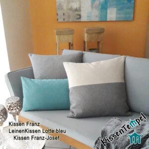 """LandhausKissen """"Franz-Josef"""" im modernen Landhausstil grau-beige 40x40   50x50   60x60   80x80 cm, Kissenbezug"""