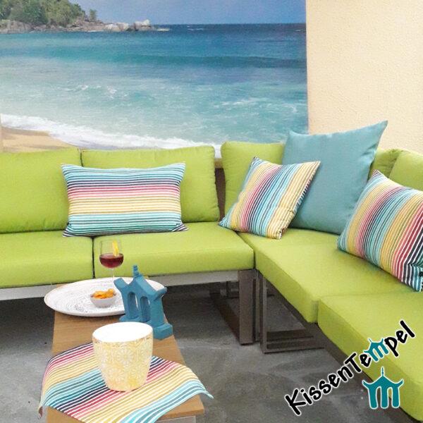 Outdoor Kissen & Mitteldecke >Rainbow< UV-beständig, wasser- und schmutzabweisend, Streifen in Regenbogenfarben