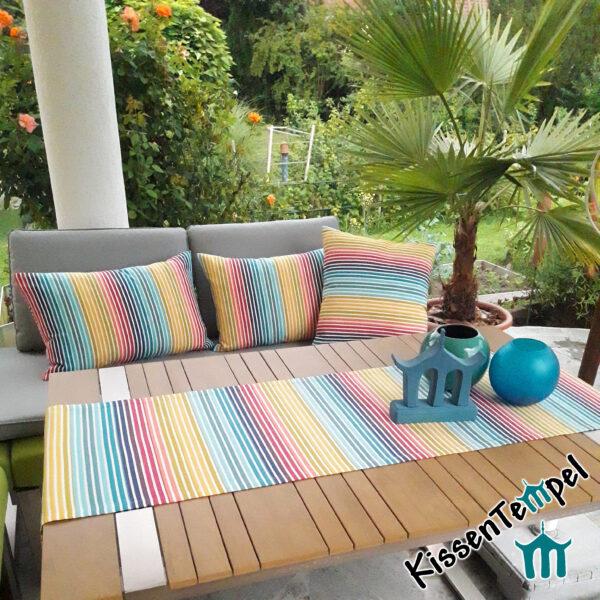 Outdoor Kissen & Tischläufer >Rainbow< UV-beständig, wasser- und schmutzabweisend, Streifen in Regenbogenfarben