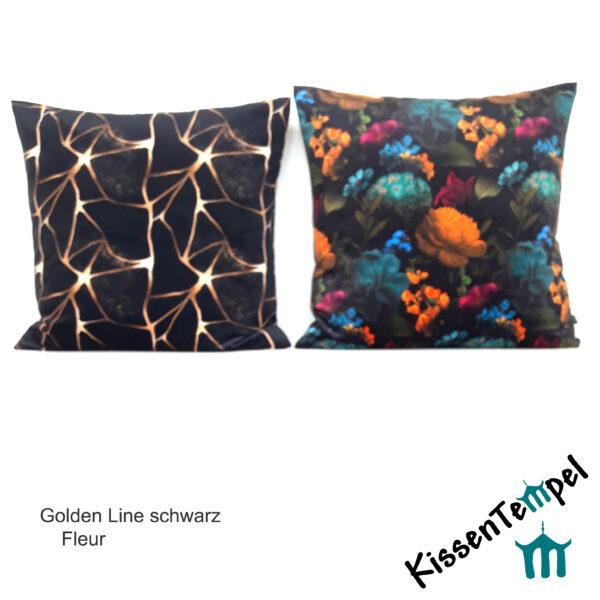 SamtKissen Golden Line & Fleur, KissenHülle, KissenBezug aus Samt, gold, schwarz, orange, beere, blau