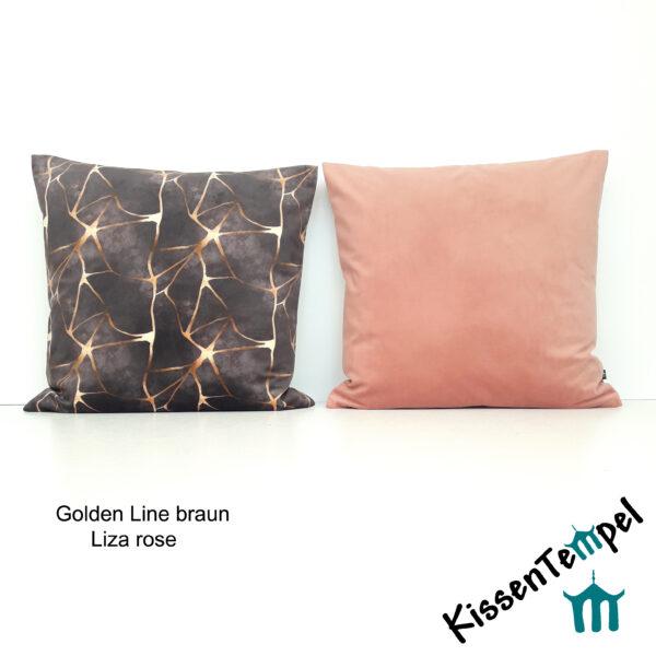 SamtKissen Golden Line & Liza rose, KissenHülle, KissenBezug aus Samt, einfarbig rose / goldene Linien auf braun