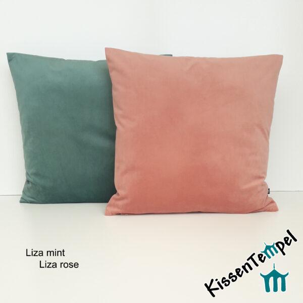 """SamtKissen """"Liza"""" KissenBezug, einfarbig, uni, mint, rose, VelourSamt"""