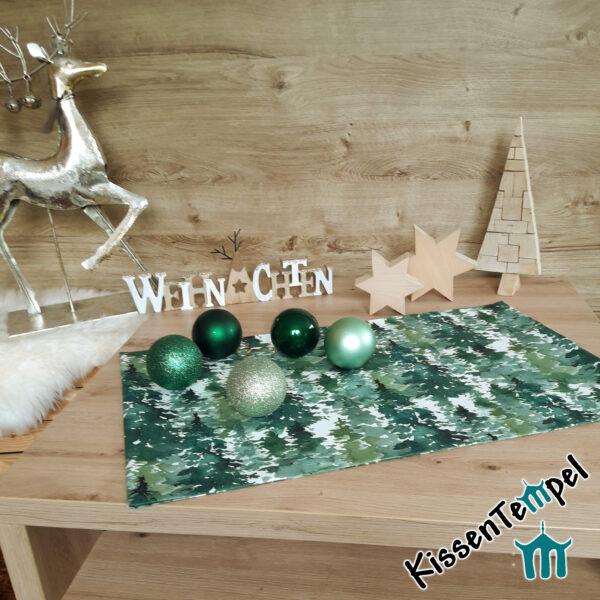 """Tischläufer """"Canada"""", Tannenwald in grün, jade, dunkelgrün, MittelDecke, TischDecke, für Winter und Weihnachten"""