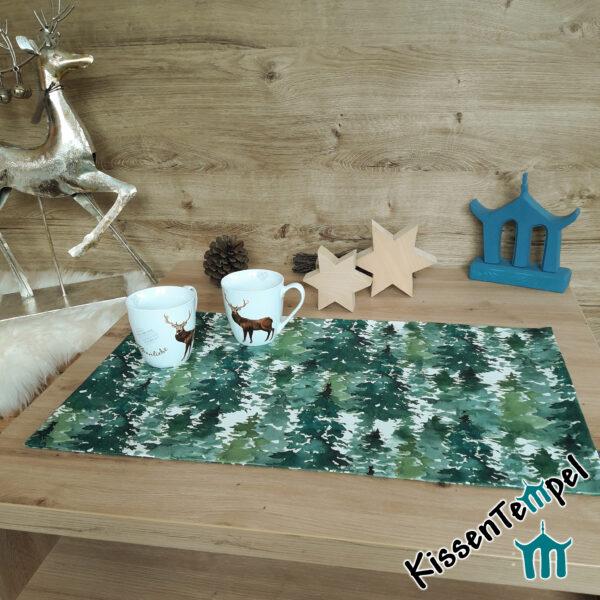 """Tischläufer """"Canada"""", Tannenwald, Tannenbäume in grün, jade, dunkelgrün, MittelDecke, TischDecke,"""