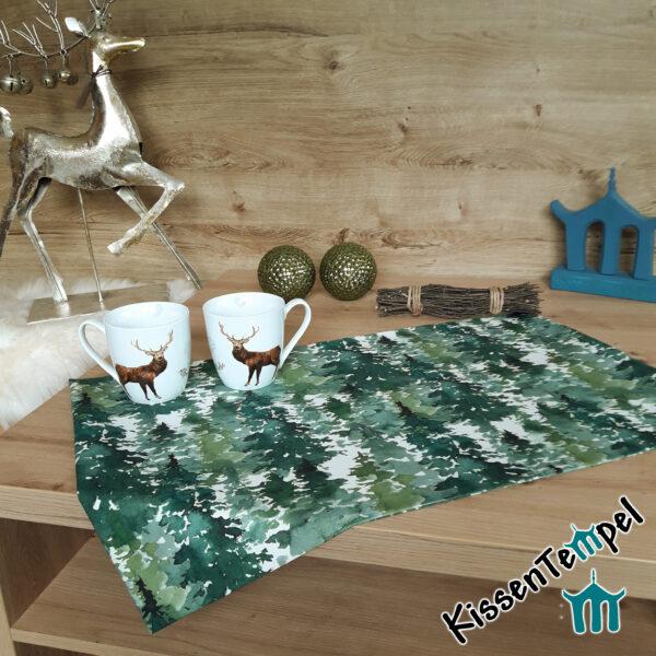 """Tischläufer """"Canada"""" Tannenwald, Tannenbäume in grün, jade, dunkelgrün, MittelDecke, TischDecke,"""