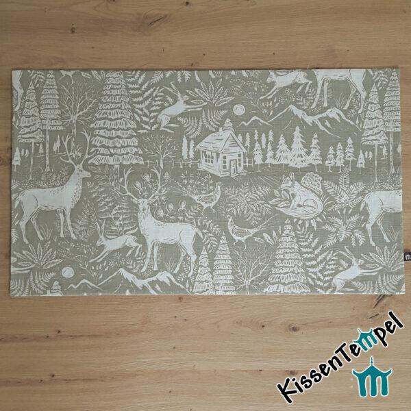 Leinen - Tischläufer / Mitteldecke >St. Moritz< grau & creme, Winterwald mit Waldtiere und Bäume
