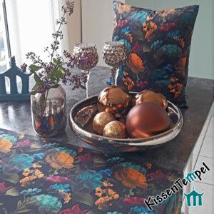 Samt Tischläufer / Mitteldecke / Samtkissen >Fleur< doppellagig ! bunte Blüten auf schwarzem, weichem leicht schimmernden VelourSamt