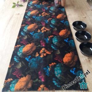 Samt Tischläufer / Mitteldecke >Fleur< doppellagig ! bunte Blüten auf schwarzem, weichem leicht schimmernden VelourSamt